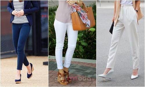 #wedge shoes combinations with pants => http://www.giyimvemoda.com/dolgu-topuk-ayakkabibot-nasil-giyilir.html