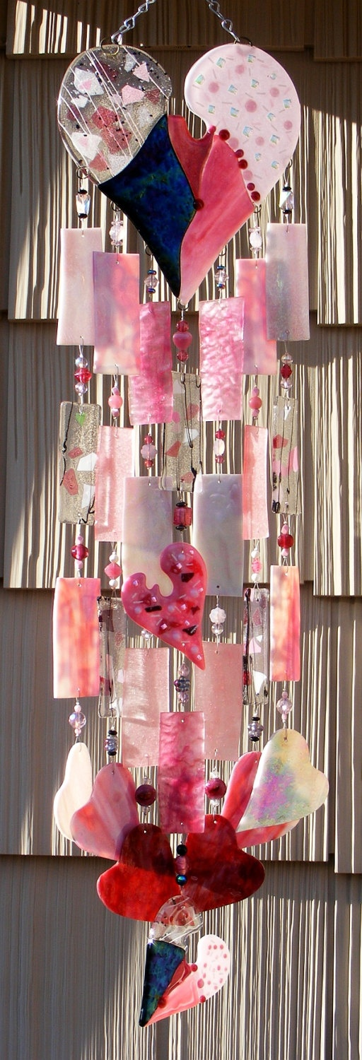 Fused Stained Glass Wind Chime windchime - Hearts by Kirks Glass Art