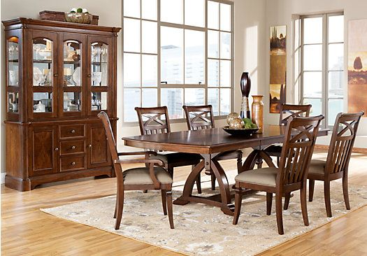 walnut 5pc pedestal dining room at rooms to go find dining room sets