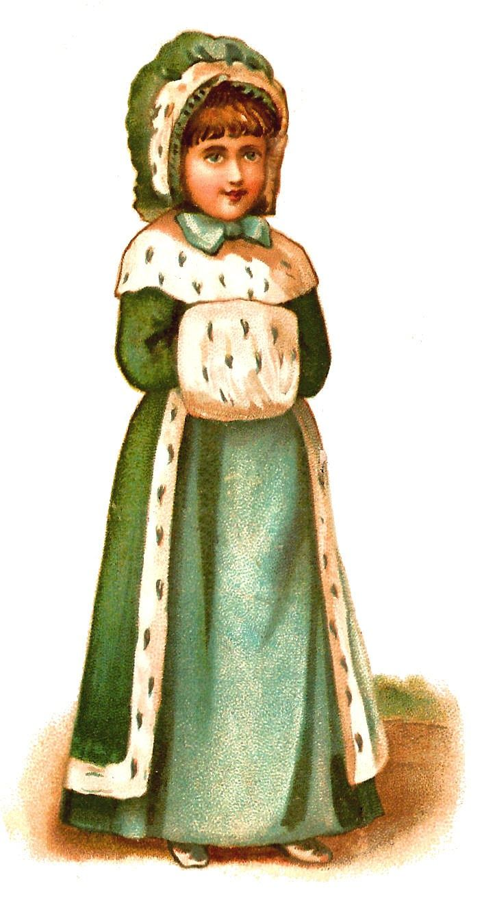 Antique Images: Free Child Clip Art of Little Girl Dressed for Winter in Green Coat and Muff