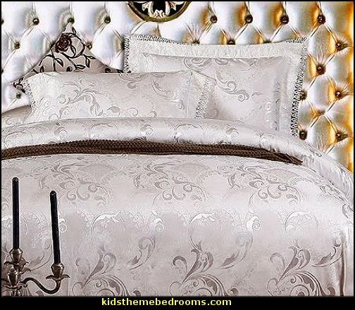 Luxury White Bedding Set Hollywood Glam Style Bedding