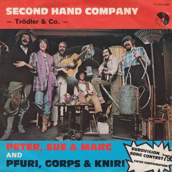 """Second Hand Company"" performed by Peter, Sue & Marc & Pfuri, Gorps & Kniri. Switzerland @ Eurovision 1979."