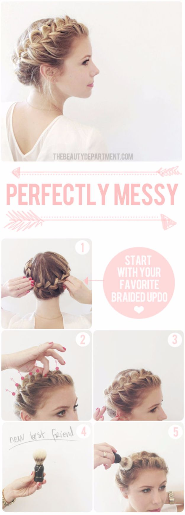Quick and Easy Updo Hairstyles - Cute Updo - Hair Hacks And Popular Haircuts For The Lazy Girl. Hairdos and Up Dos Including The Half Up, Chignons, Twists, Beauty Tips, and DIY Tutorial Videos For Bangs, Products, Curls, The Top Knot, Coiffures, and Shoulder Length Hair - https://www.thegoddess.com/quick-easy-updo-hairstyles