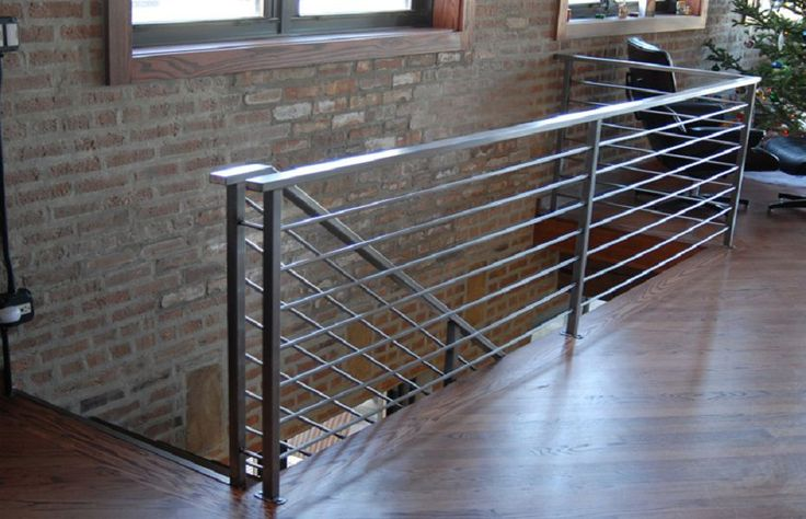 steel railing   brushed-steel-railing-downtown-chicago
