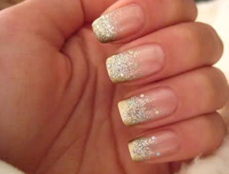 Cool sparkly French Nails