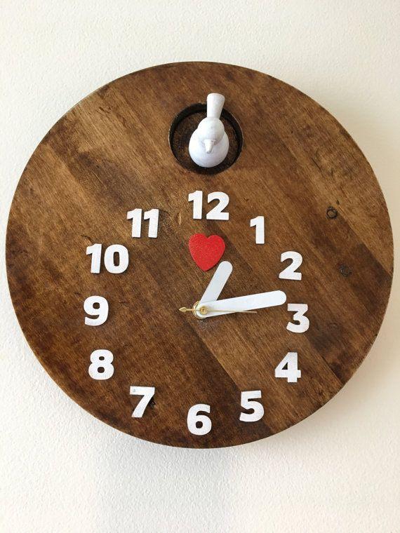 Cute Modern Cuckoo Clock with Bird Original by WickedGoodGoods