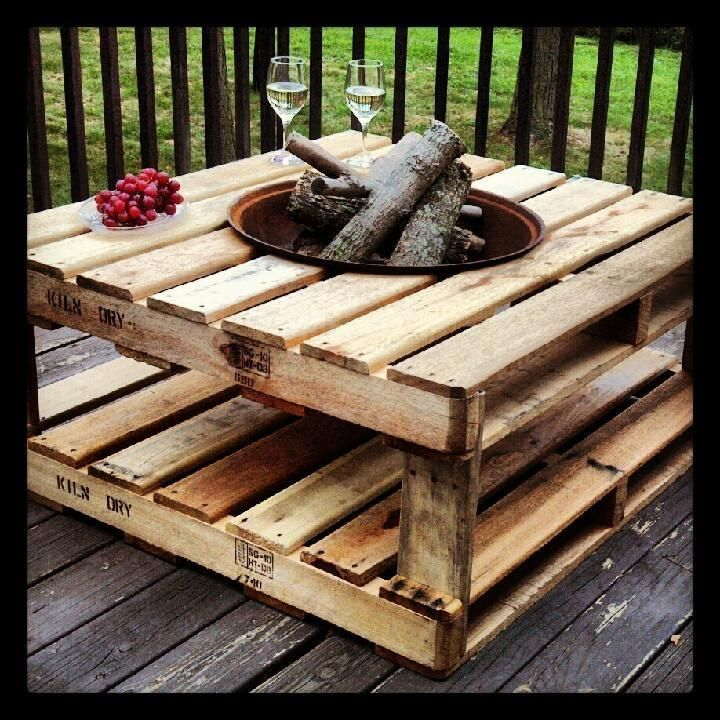 Upcycle pallets into fire pit table, maybe use brick or tile to help prevent any…