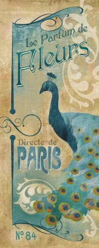 Le Parfum de Fleurs Art Print with Peacock, Paris