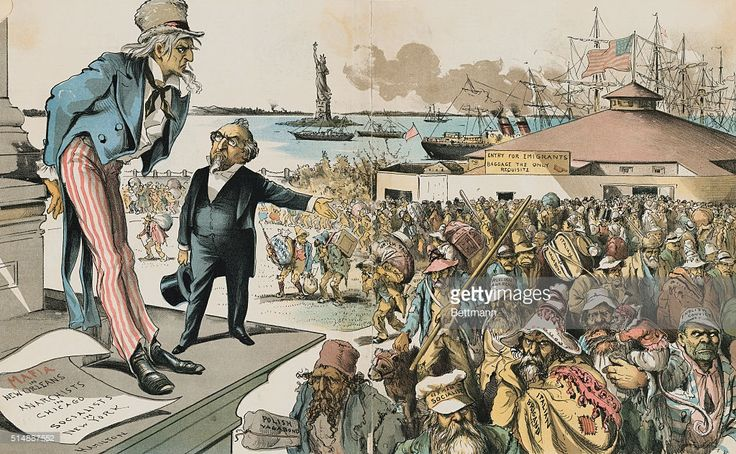 MMIGRATION CARTOON, 1891--WHERE THE BLAME LIES. JUDGE (TO UNCLE SAM): 'IF IMMIGRATION WAS PROPERLY RESTRICTED, YOU WOULD NO LONGER BE TROUBLED WITH ANARCHY, SOCIALISM, THE MAFIA