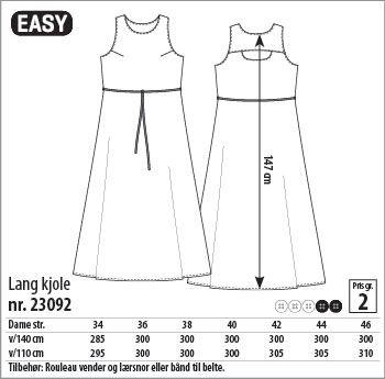 Lang kjole - 23092 - Stoff & Stil