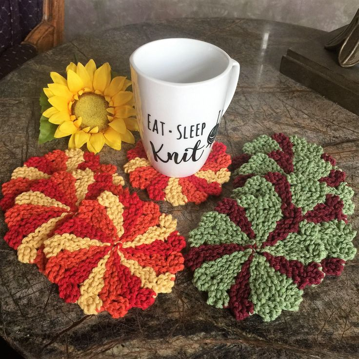 A personal favorite from my Etsy shop https://www.etsy.com/listing/555278052/knitted-coaster-set-of-4-beverage #etsy #coasters #kitchen #drinks #knitting