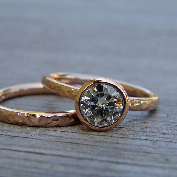 Hammered metal wedding ring set http://www.etsy.com/listing/150227042/engagement-wedding-ring-set-forever