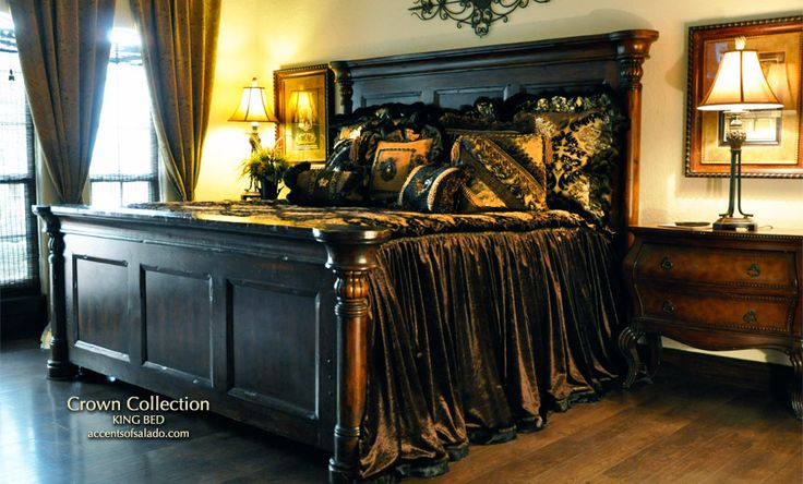 Consider beds with high headboards complimented by solid wood media cabinets and solid wood side chests and dressers when creating old world style bedrooms. FIND IT AT ACCENTS OF SALADO. accentsofsalado.com