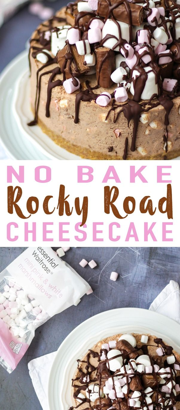 An easy No Bake Rocky Road Cheesecake Recipe - A chocolate cheesecake packed with marshmallows and topped with melted chocolate. No bake buttery biscuit base with cream cheese and whipped cream topping. A delicious dessert cake for any special occasion. Also easily adaptable to be Gluten Free. #tamingtwins #cheesecake #rockyroad #glutenfree #easydesserts via @tamingtwins