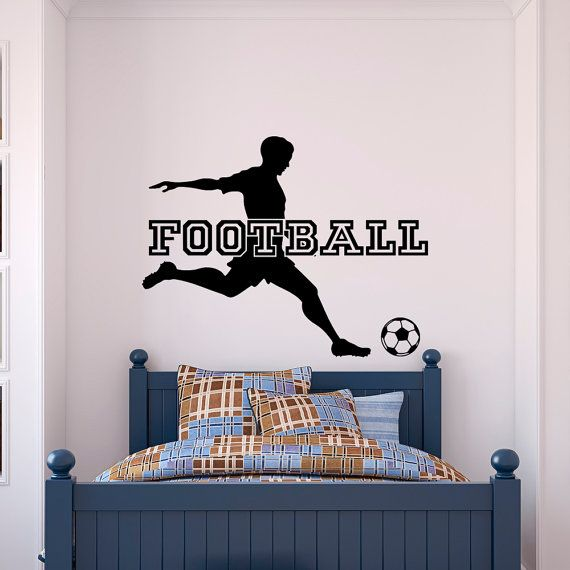 Football Wall Decal Sports Man Football Player Sport Gym Soccer Wall Decals  Vinyl Stickers Bedroom Nursery Kids Boys Room Home Decor