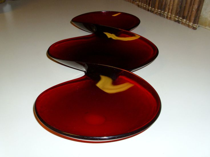"""Vintage Snack Tray. Very Unique, Red Lucite Twisted.  Large 17 1/4"""" Long. Very good condition! by GraysideCottage on Etsy"""