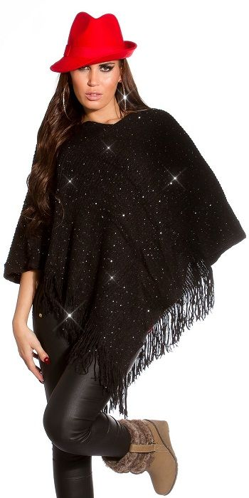 Buy Poncho with sequins fringed Blackfor R319.00
