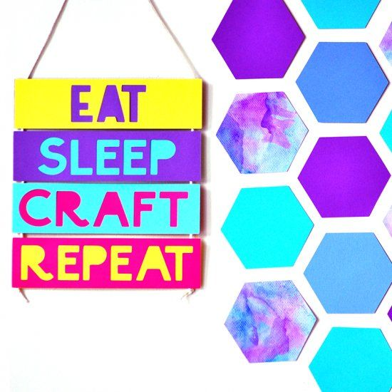 Here's a quirky, easy and colorful take on  the geometric honeycomb craze. Spruce up your walls in a just a few steps!