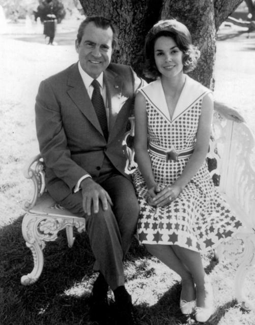 PRESIDENT NIXON with his daughter Julie Nixon Eisenhower. c. 1969