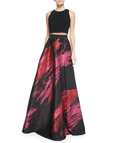 -5L8R Carmen Marc Valvo Sleeveless Crop Top & Paintbrush Stroke Ball Skirt