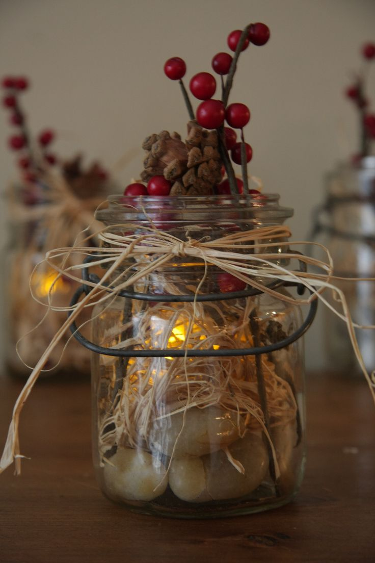 Changing out the interior of my mason jars for the winter for Mason jar candle crafts