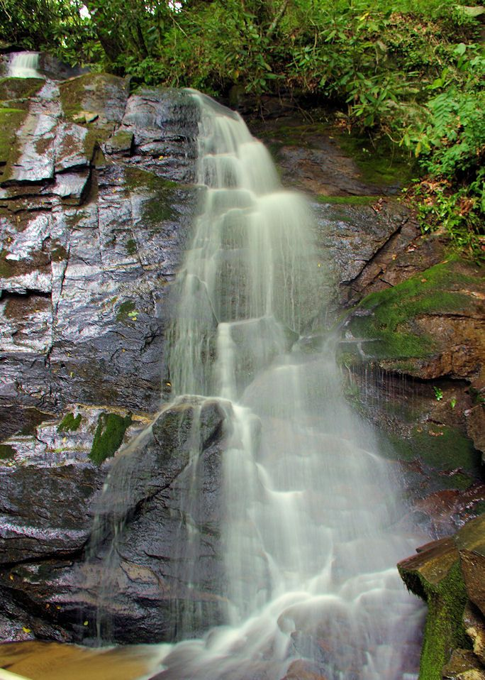 Juney Whank Falls waterfall in the Great Smoky Mountains in North Carolina