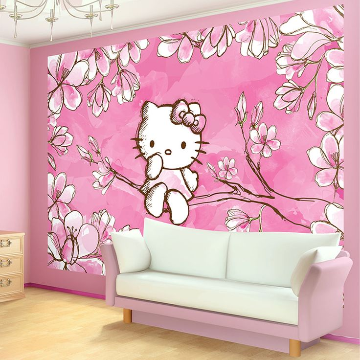 Vorhange Kinderzimmer Hello Kitty : Hello Kitty Cherry Tree Blossom Photo Wallpaper Wall Mural (CN454P)