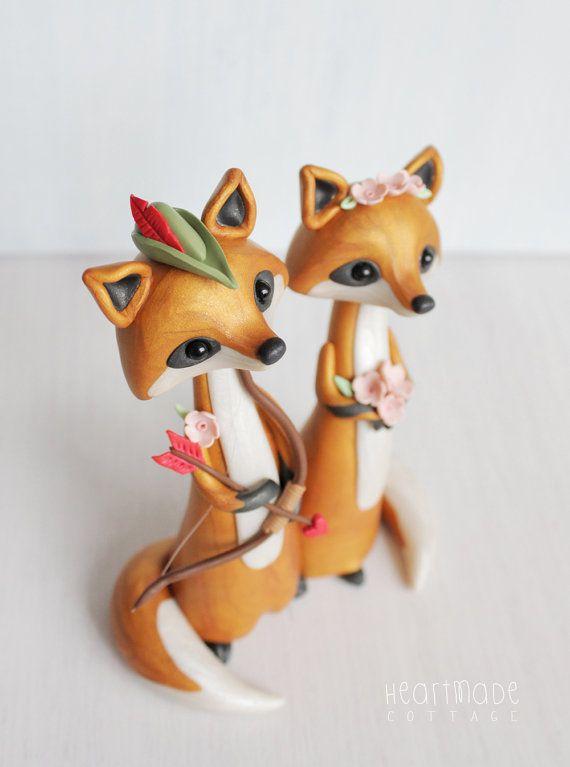 Fox wedding cake topper- Robin Hood themed polymer clay cake topper & keepsake for original animal, woodland, rustic or chic wedding