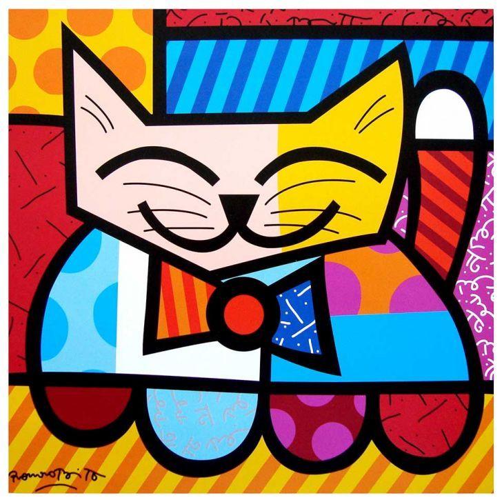 """""""Romero Britto - Cat Poster Print - Miami, Florida - Lincoln Road - South Beach #art"""""""