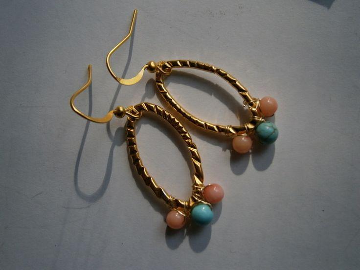 Ohrringe,Koralle,Türkis,pastell,wirework,hammered von kunstpause auf DaWanda.com