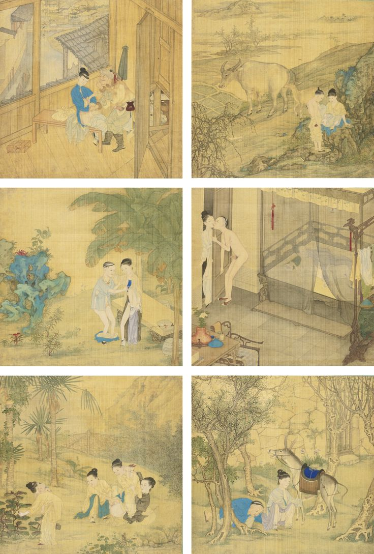 Unsigned, with two seals of the artist, Leng Mei (2), Ji Chen (2) ink and color on silk, album of eight leaves.