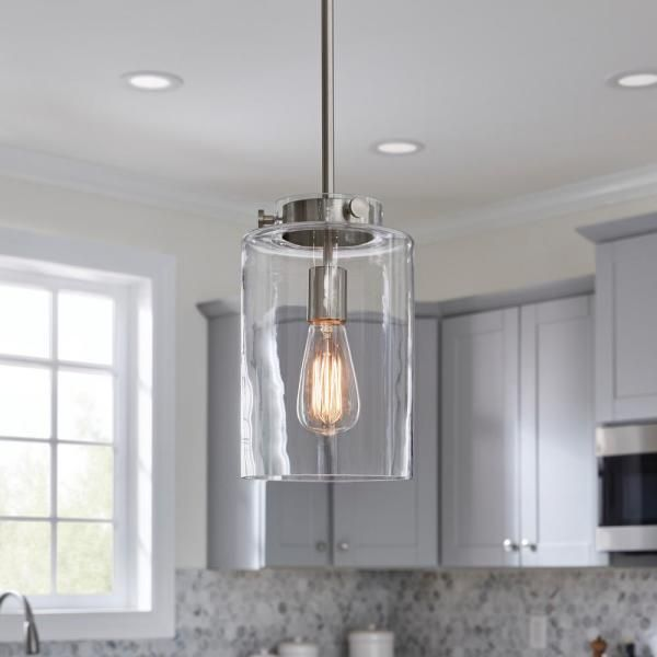 Home Decorators Collection Mullins 1 Light Brushed Nickel Mini Pendant With Clear Glass Shade 27228 The Home Depot In 2021 Pendent Lighting Kitchen Pendant Lighting Pendant Lighting