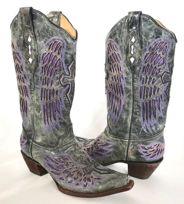 Womens Corral Vintage Boots Leather Size 10 Excellent Gray Purple Gently Used  #CorralBoots #CowboyWestern