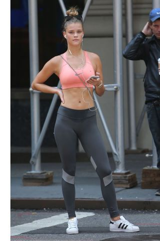 Celebrities looking chic while working out: model Nina Agdal.
