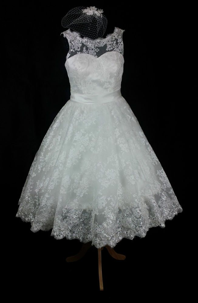 BN Vintage Boat Neck Ivory Tea Length 1950s 60s Lace Wedding Dress 12 14 20 In Clothes Shoes