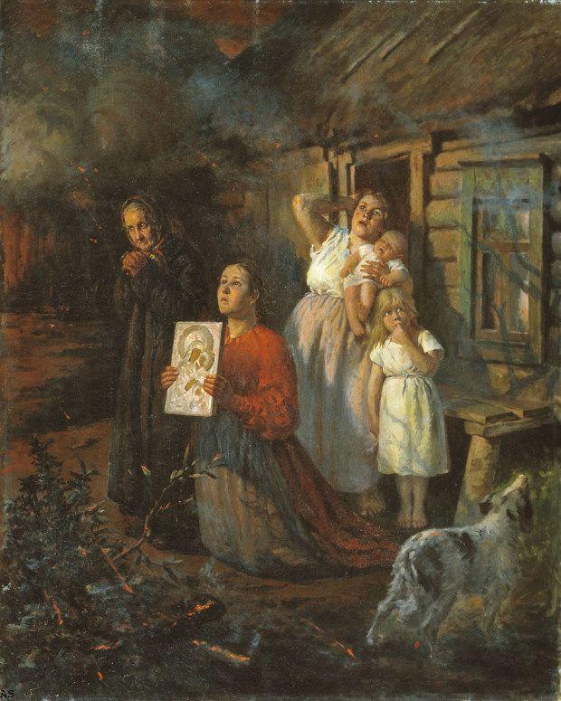 Бухгольц Федор Федорович - Пожар в деревне 1901 (907х1134) Нажмите для просмотра в полный размер.
