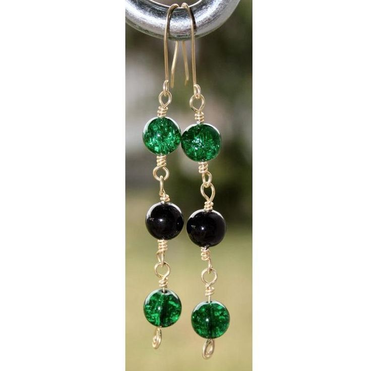 $8.00 - Handcrafted Earrings of Green and Black beads with gold by DornanDesigns on Handmade Australia