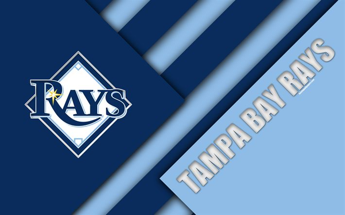 Download wallpapers Tampa Bay Rays, MLB, 4k, blue abstraction, logo, material design, American baseball club, American League, East division, USA, Major League Baseball