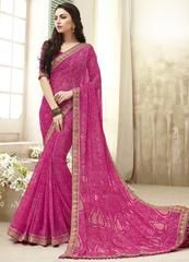 Pink Color Gerogette Party Wear Sarees : Panima Collection YF-64063