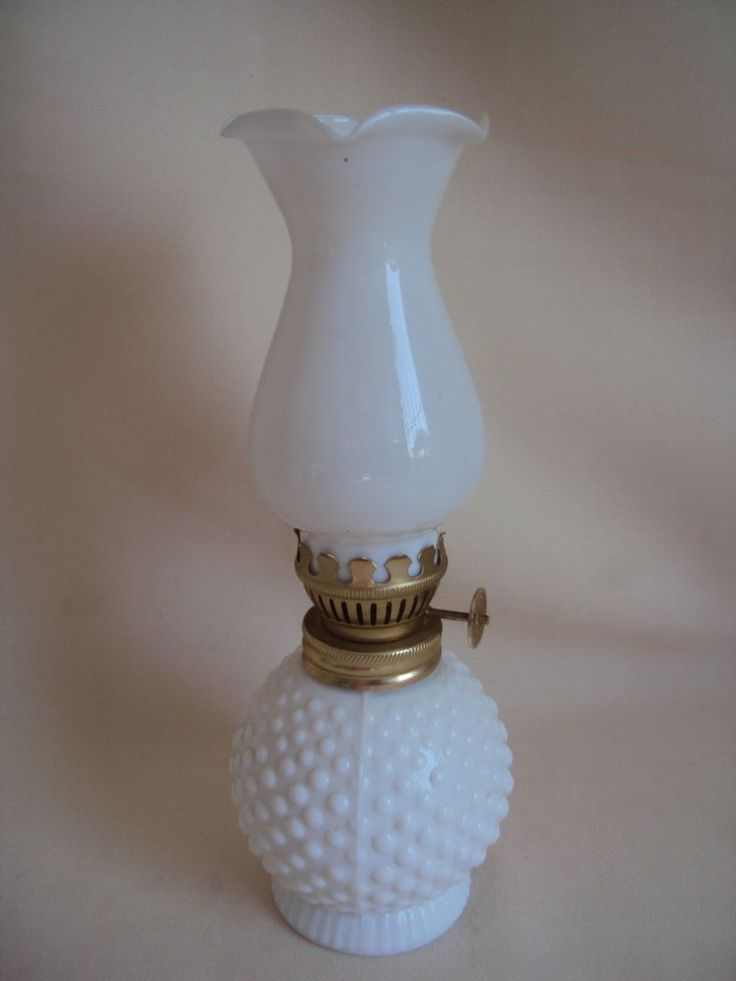 VINTAGE MILK GLASS RUFFLED HOBNAIL SMALL MINIATURE OIL ...