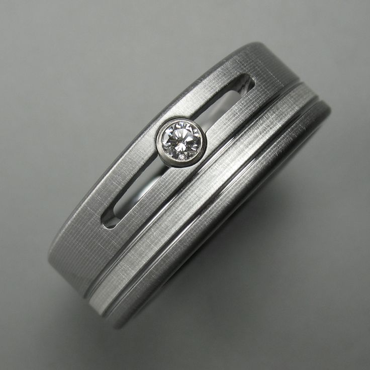 Men's Titanium Diamond Channel Wedding Band with Silver Inlay made by Spexton.com
