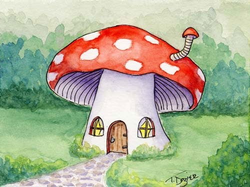 Red Mushroom Fairy House by Tamara Dozier