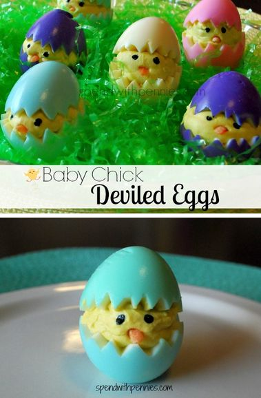 Baby Chick Deviled Eggs!  This is such a cute way to use up your decorated eggs and display them at Easter Dinner!