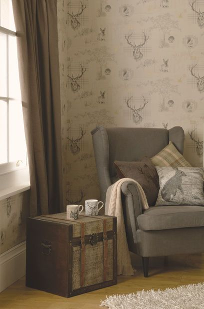 Perfect for the hunting lodge style. Quirky Highland Tartan Stag Tweed Knit Country Sketch Animals Woodland Wallpaper