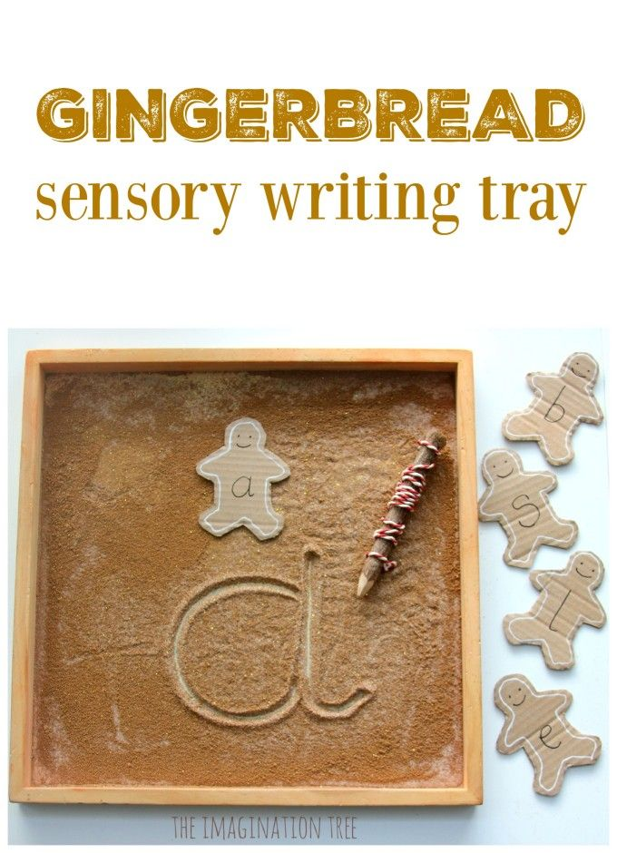 Gingerbread man sensory writing tray literacy activity