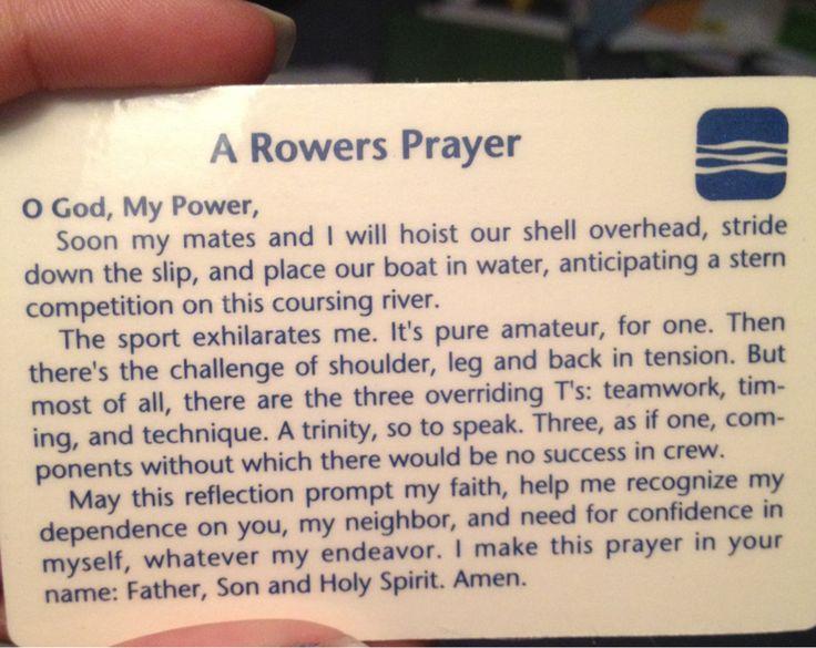 A Rower's Prayer