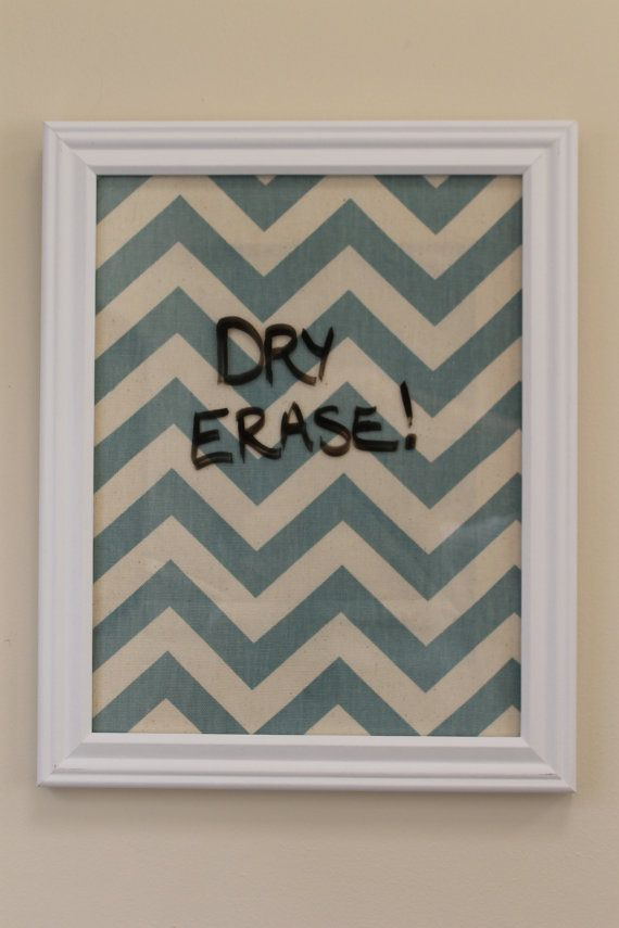 Chevron Framed Dry Erase Board - Preppy Teal & Cream - Personalized