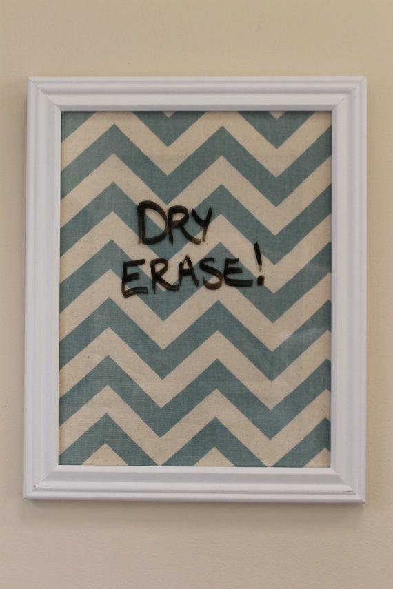 Chevron Framed Dry Erase Board - Preppy Teal & Cream - Personalized