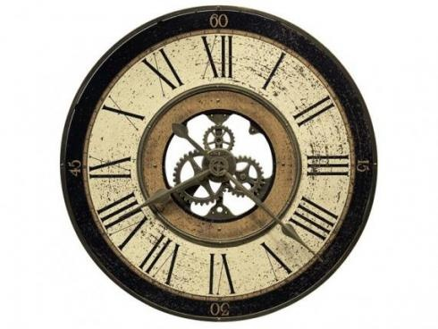 """Dimensions: 32""""dia  Description: New Victorian, oversized gallery wall clock in antique brass finish. Features exposed gears and metal outer frame. Quartz, battery-operated movement."""