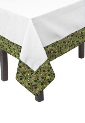 Toalha de Mesa Quadrada Cantinho do Artesanato Galinha e Pintinho Branco/Verde